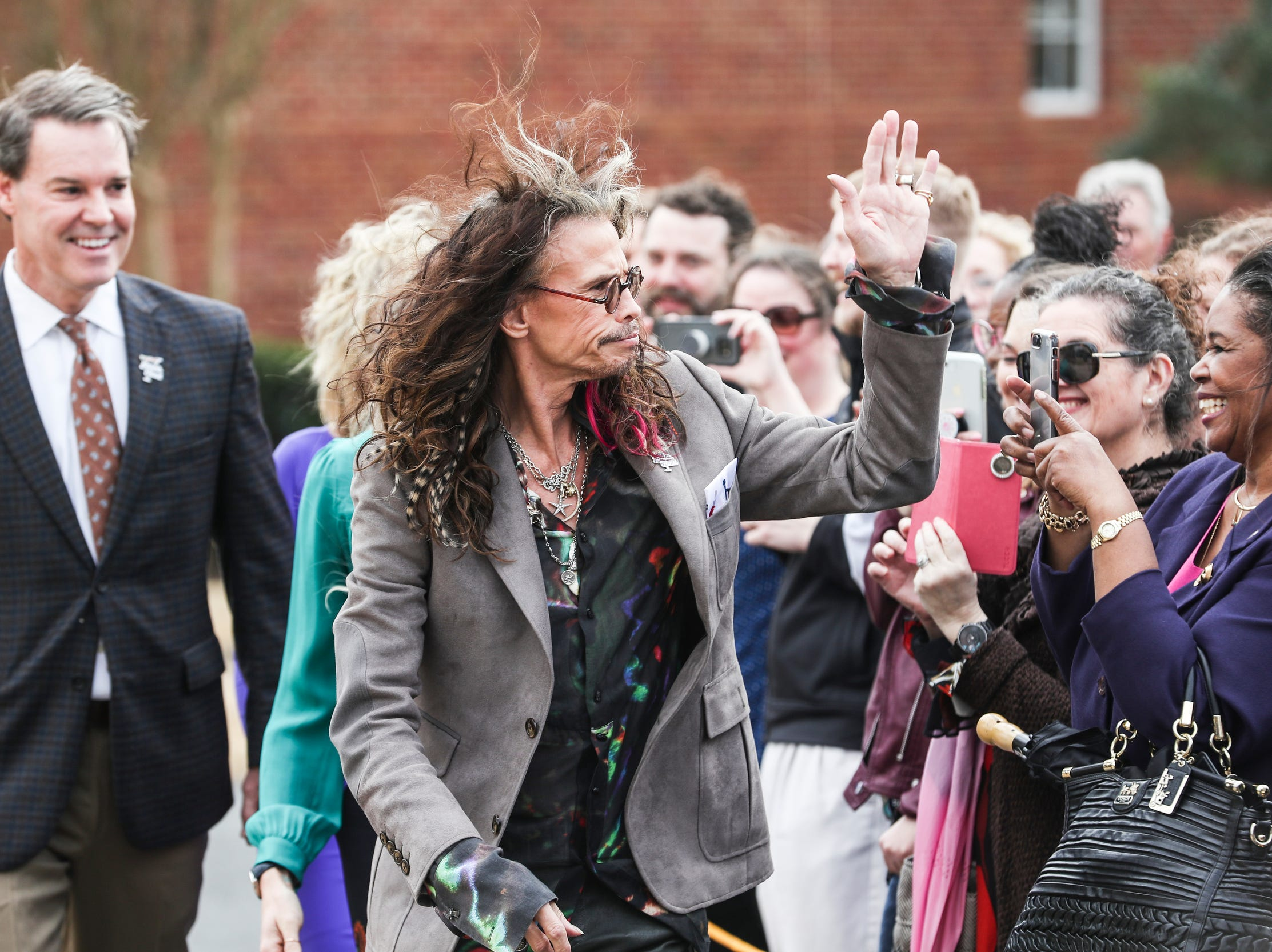February 04 2019 - Steven Tyler arrives for a scarf-cutting celebration outside of Janie's House at Youth Villages in Bartlett. Janie's Fund paid for the renovations of the existing home for girls and Youth Villages renamed it a Janie's House.