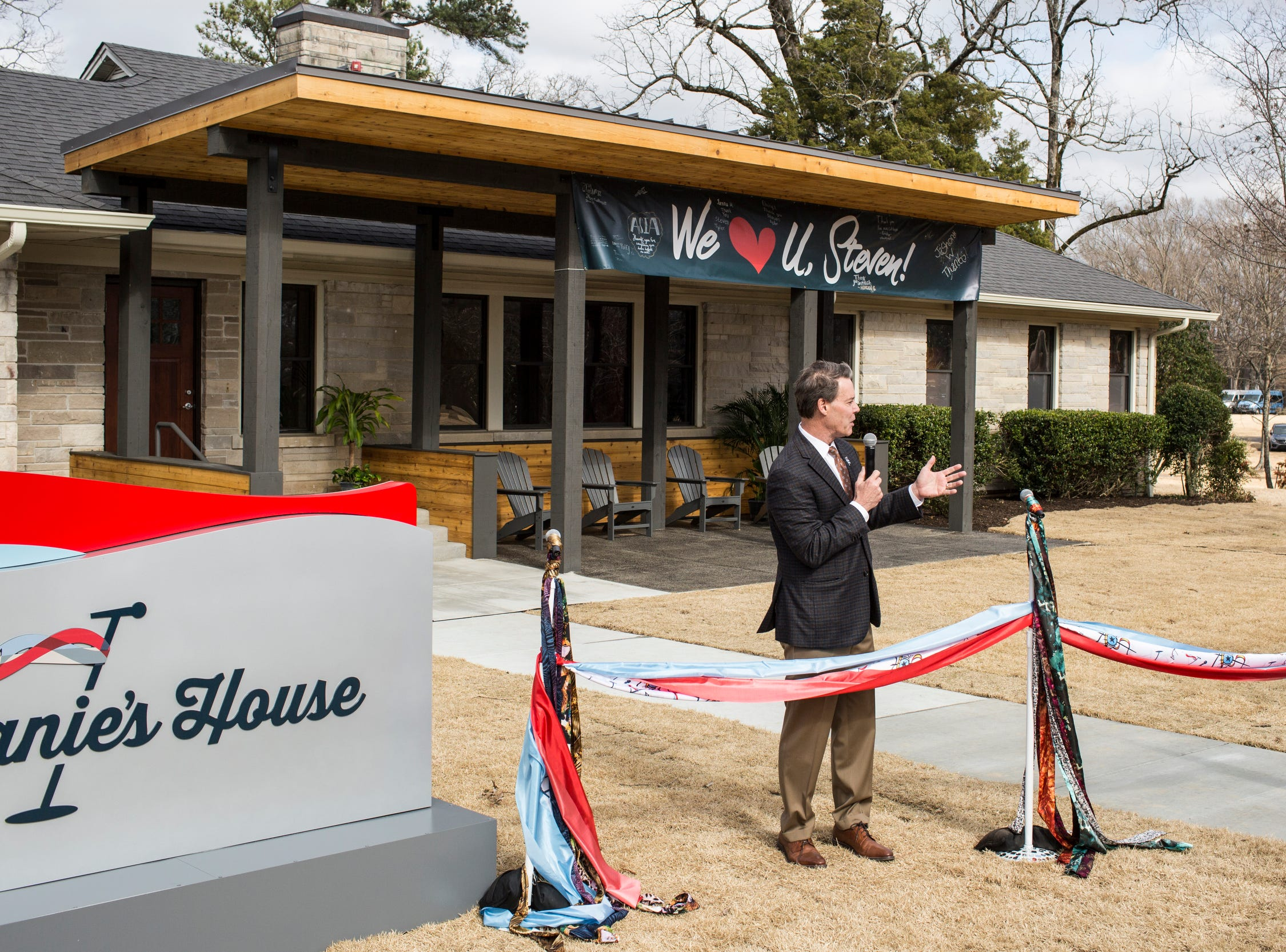February 04 2019 - Patrick Lawler, CEO Youth Villages, speaks during a scarf-cutting celebration outside of Janie's House at Youth Villages in Bartlett. Janie's Fund paid for the renovations of the existing home for girls and Youth Villages renamed it a Janie's House.