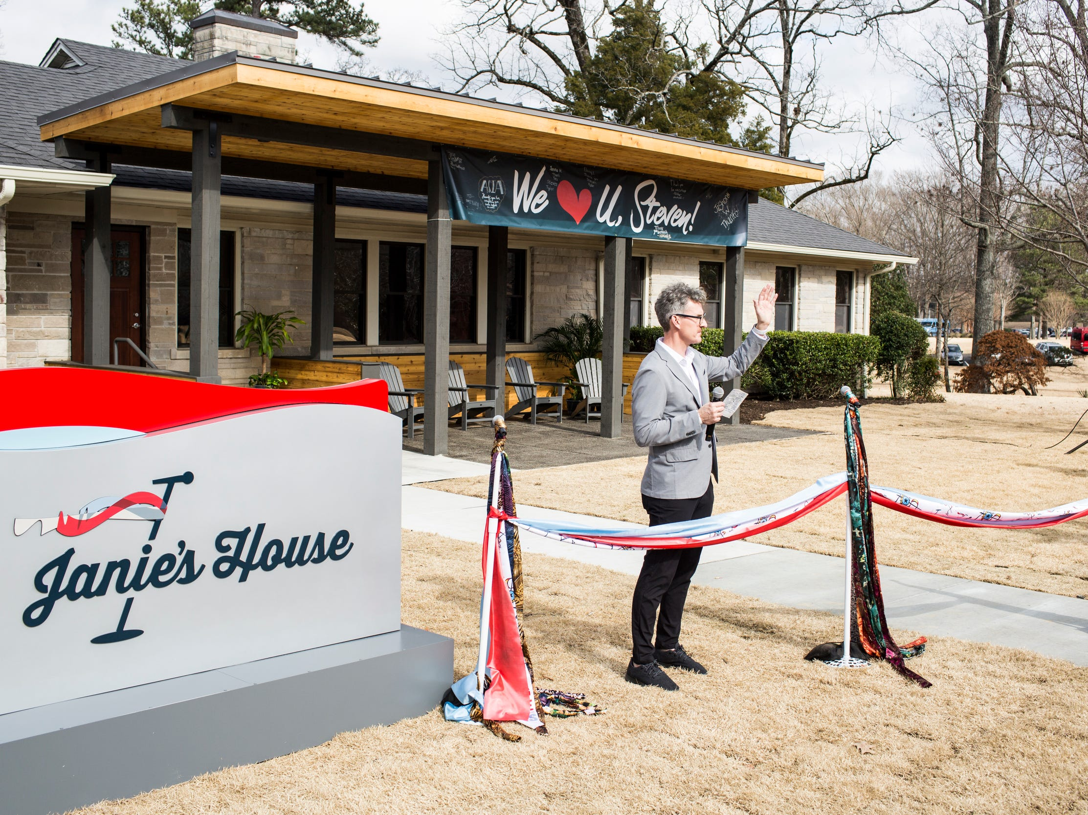February 04 2019 - Richard Shaw, chief development officer at Youth Villages, speaks during a scarf-cutting celebration at Janie's House at Youth Villages in Bartlett. Janie's Fund paid for the renovations of the existing home for girls and Youth Villages renamed it a Janie's House.