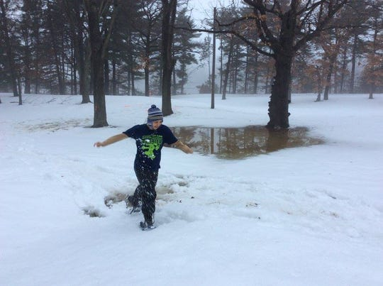 Warm temperatures made for slushy conditions at the 2017 National Snowshoe Beer Mile Championship in Eau Claire.