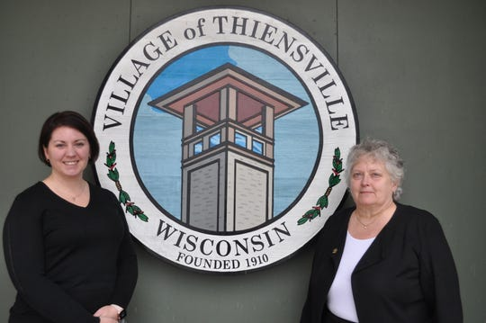 After 20 years as Thiensville's village administrator, Dianne Robertson (right) will retire on March 10. She will be succeeded by Assistant Administrator Colleen Landisch-Hansen (left).