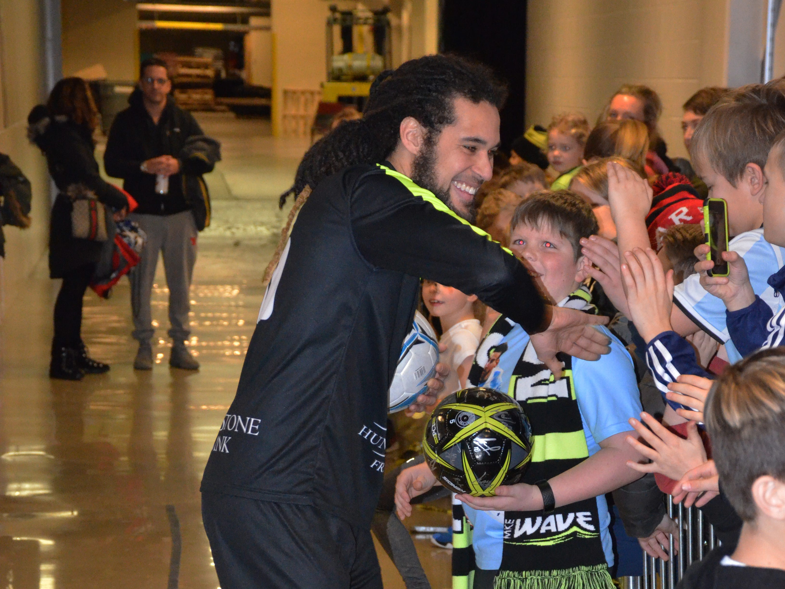 Kids have the option to meet and greet Milwaukee Wave players as part of birthday party packages.