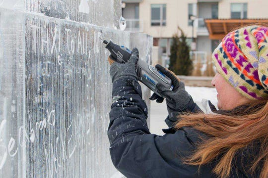 Kids can carve their name into an ice graffiti wall with a drill pen and the help of Art Below Zero staff at The Oak Creek Winterfest Feb. 16.