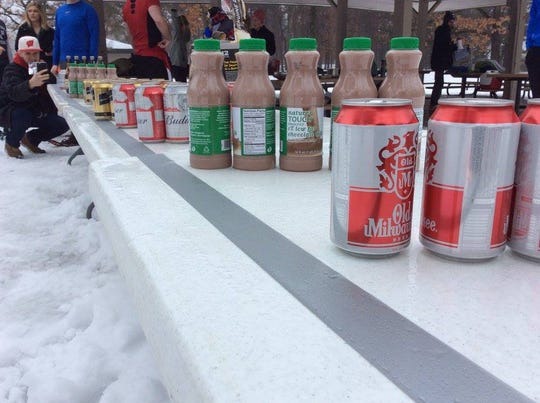 Beverages from beer to chocolate milk were ready for racers during the 2017 National Snowshoe Beer Mile Championship in Eau Claire.