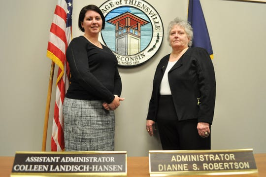After 20 years as Thiensville's village administrator, Dianne Robertson, right, will retire on March 10. She will be succeeded by Assistant Administrator Colleen Landisch-Hansen, left.