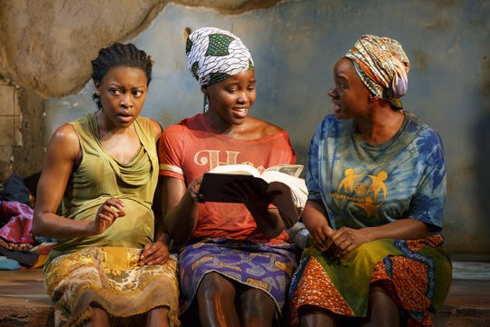 "Pascale Amand (left), Lupita Nyong'o and Saycon Sengbloh iperform in the Broadway production of ""Eclipsed"" in 2016. The Milwaukee Repertory Theater will perform Danai Gurira's drama during its 2019-'20 season."