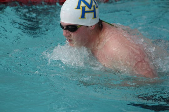 Mountain Home's Jacob Leppold competes in a breaststroke event Saturday at Batesville.