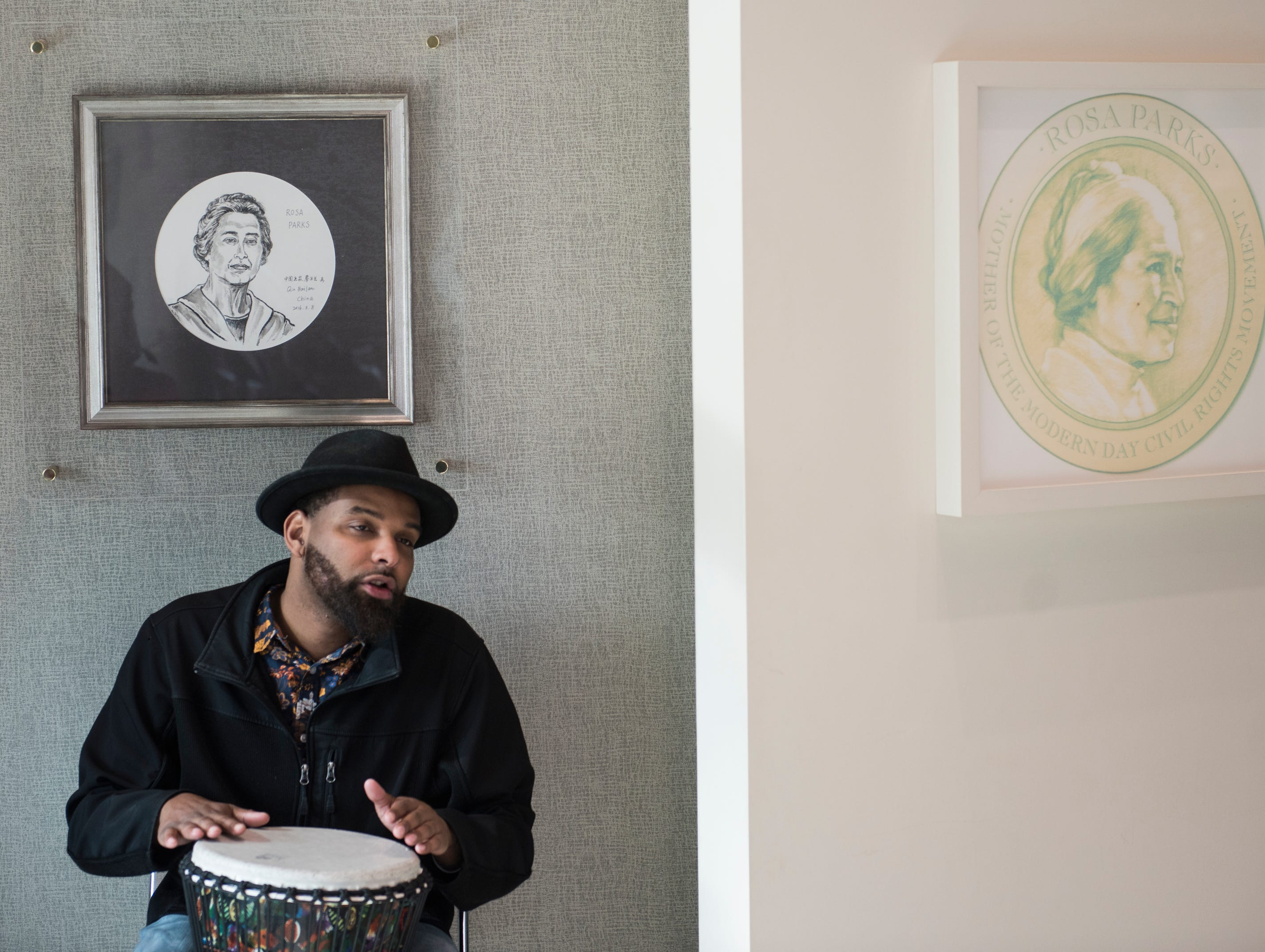 Duron Hale plays music during Rosa Parks' birthday celebration at the Rosa Parks Museum in Montgomery, Ala., on Monday, Feb. 4, 2019.