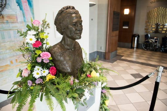 Flowers decorate a statue of Rosa Parks celebrating her 106 birthday at the Rosa Parks Museum in Montgomery, Ala., on Monday, Feb. 4, 2019.