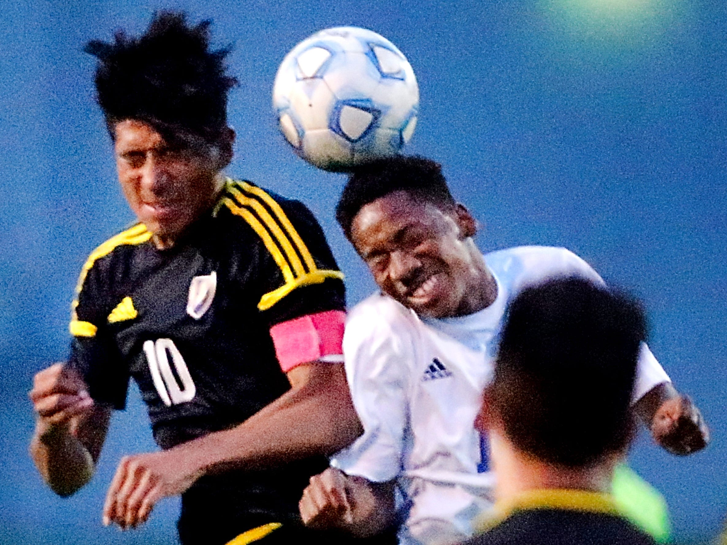 Smyrna's  Juan Cernas (10) and La Vergne's Chadrac Phillipe (16) both try to head the ball  during a soccer match at La Vergne, on Thursday, May 3, 2018. Final score 1 to 1.