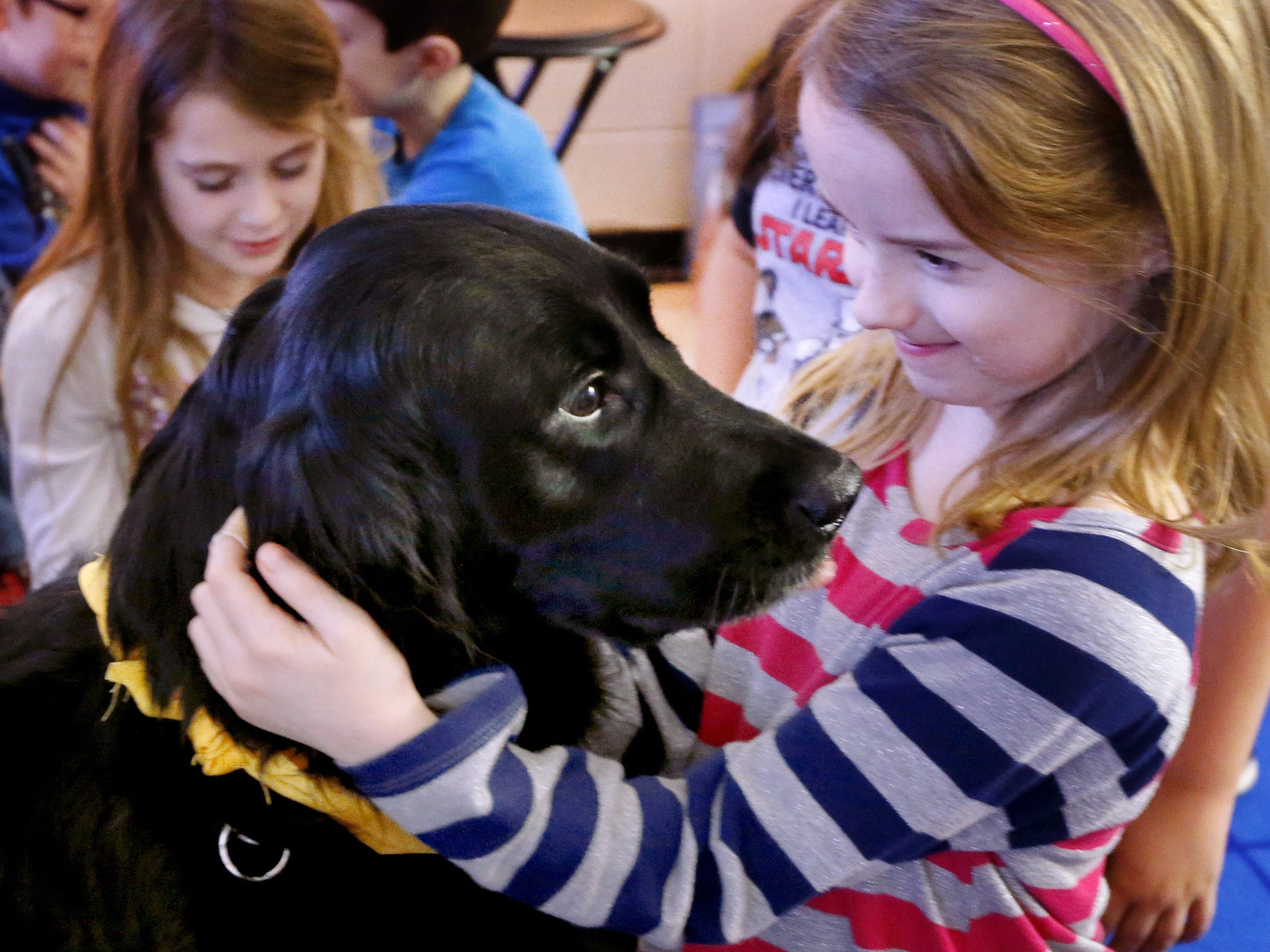 Lynnlee Tune a second grade student as Christiana Elementary pets and loves on Inca her teacher Paige SaylorsÕ service dog on Wednesday, Jan. 24, 2018.