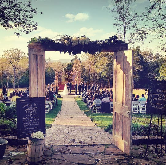 The rustic yet elegant setting at The Barn at Stone Gate Farm, 714 Floration Road, offers a picturesque outdoor ceremony site with full-service options for up to 200 guests.