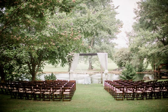 Peaceful countryside is the backdrop for weddings at Cheval Manor, 7052 W. Gum Road in Murfreesboro.