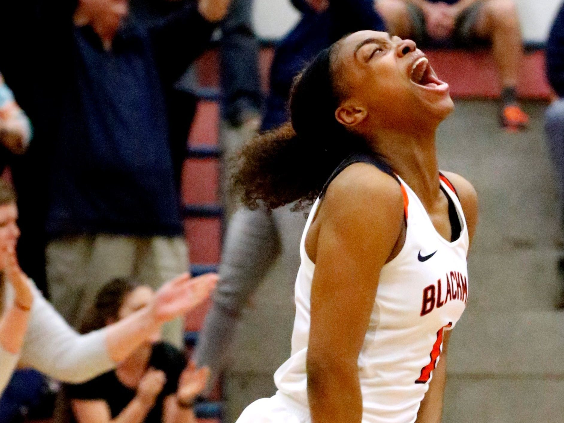 Blackman's Jaleah Goff reacts after her squad's 51-47 win over Stewarts Creek in the Region 4-AAA semifinals Monday.
