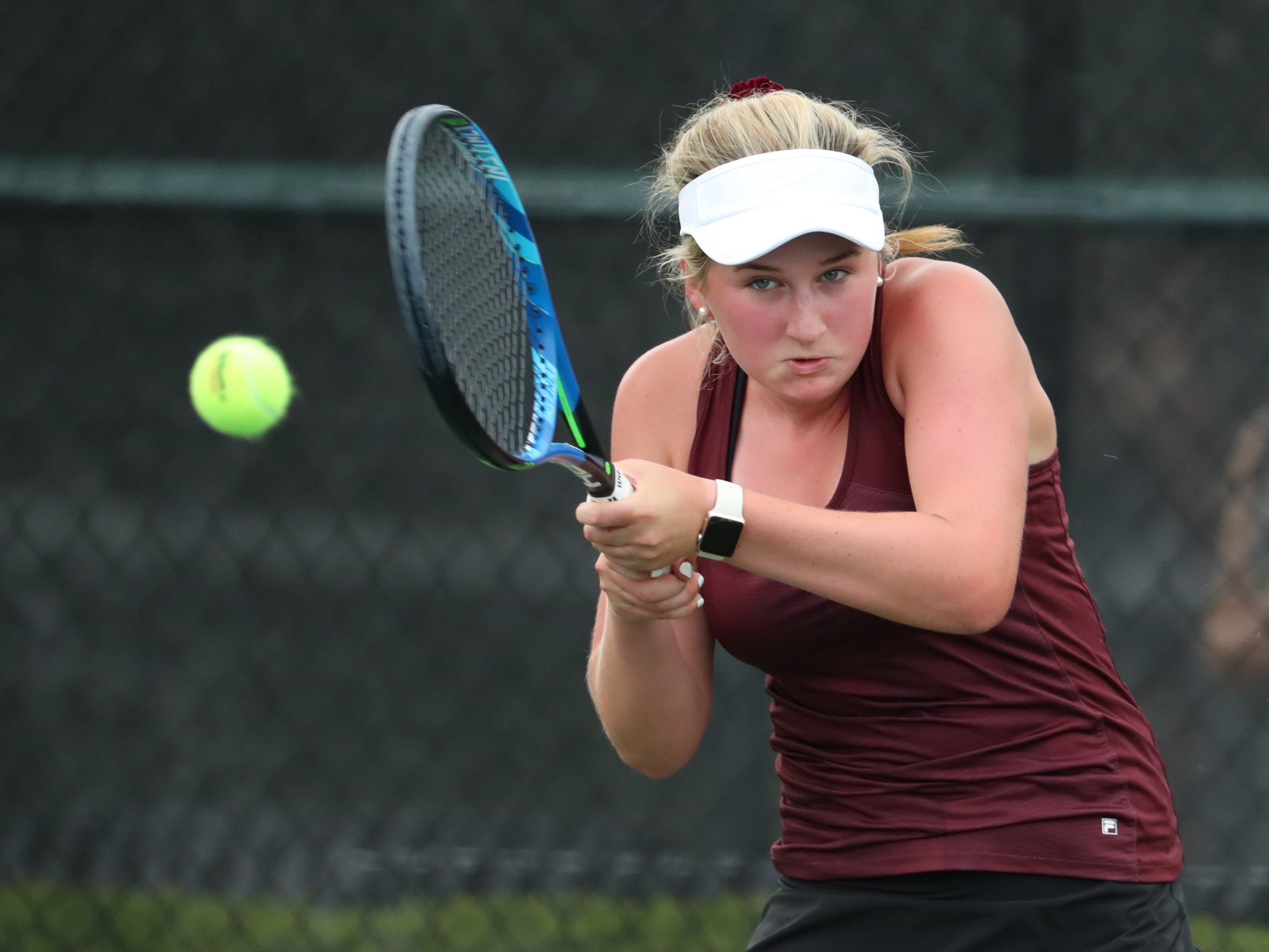 Dobyns Bennett's Willa Rogers returns the ball against Brentwood's Somer Henry during the first round of the 2018 Large Class State Girls Team Tennis during Spring Fling on Tuesday, May 22, 2018, at the Adams Tennis Complex, in Murfreesboro.