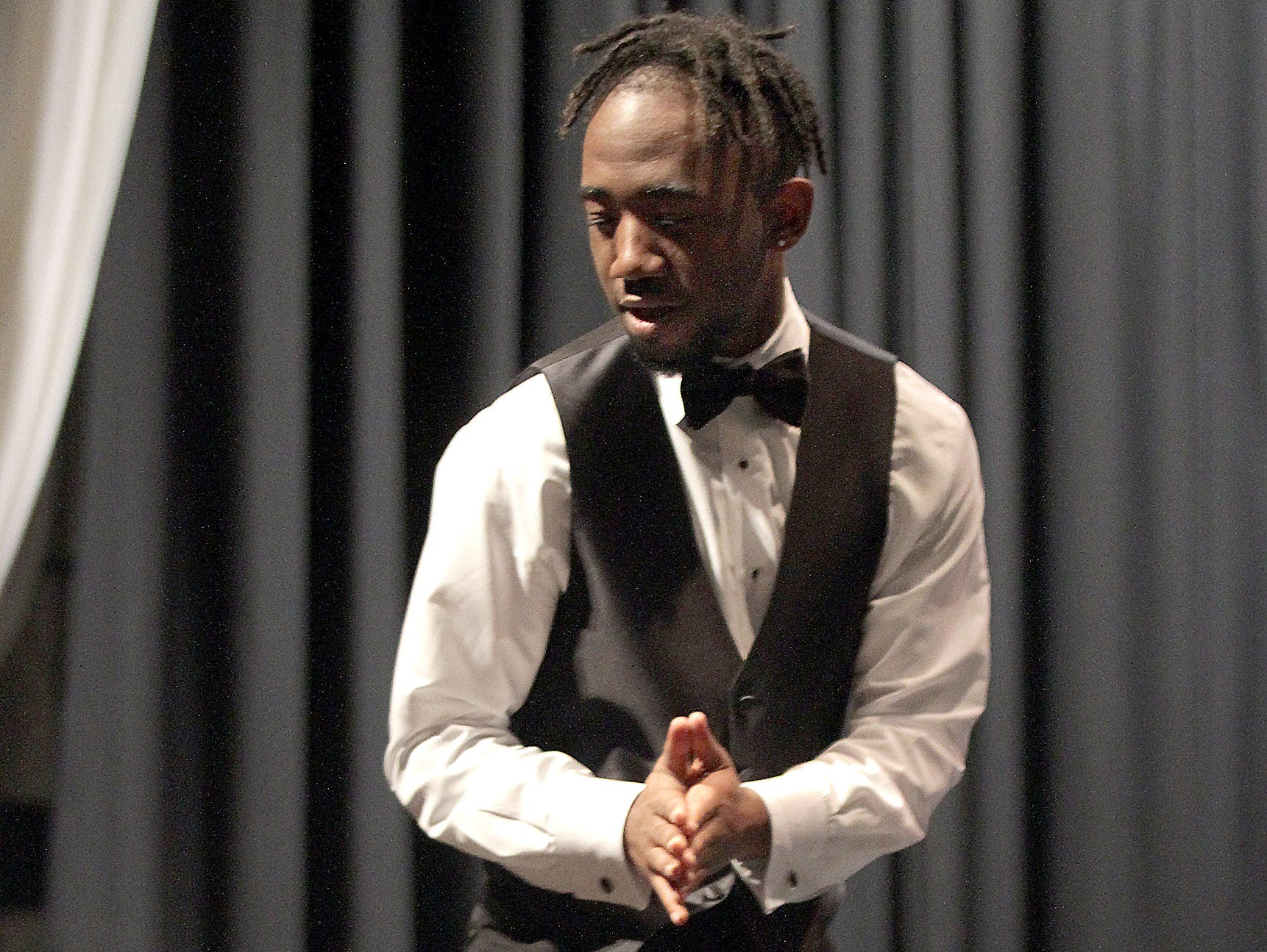Thomas Carey hits the stage at Gallatin High's Annual Prom Show on Saturday, February 2, 2019.