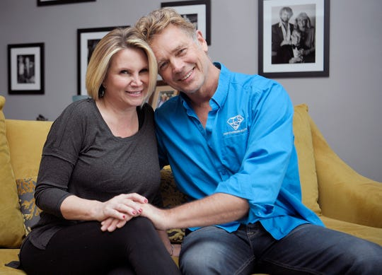 John Schneider with his girlfriend, Alicia Allain, in their Music Row home in Nashville on Feb. 1.