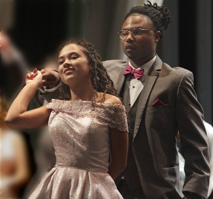 Senior Rachel Broadrick (President of FCCLA, Family, Career and Community Leaders of Amercia)  with Antowan White at the Annual Prom show at Gallatin High on Saturday, February 2, 2019.