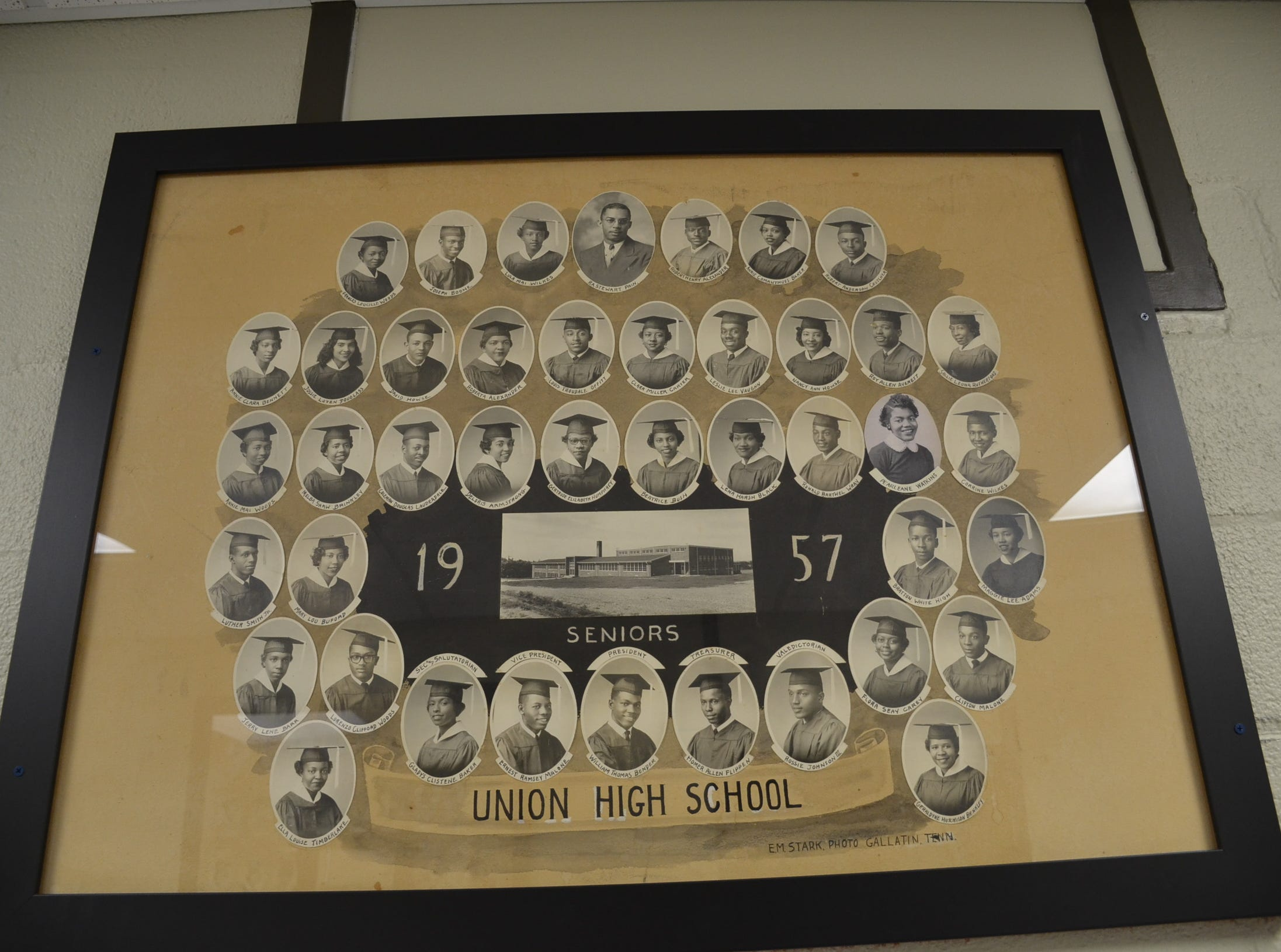 This display shows the Class of 1957 at Union High School in Gallatin.