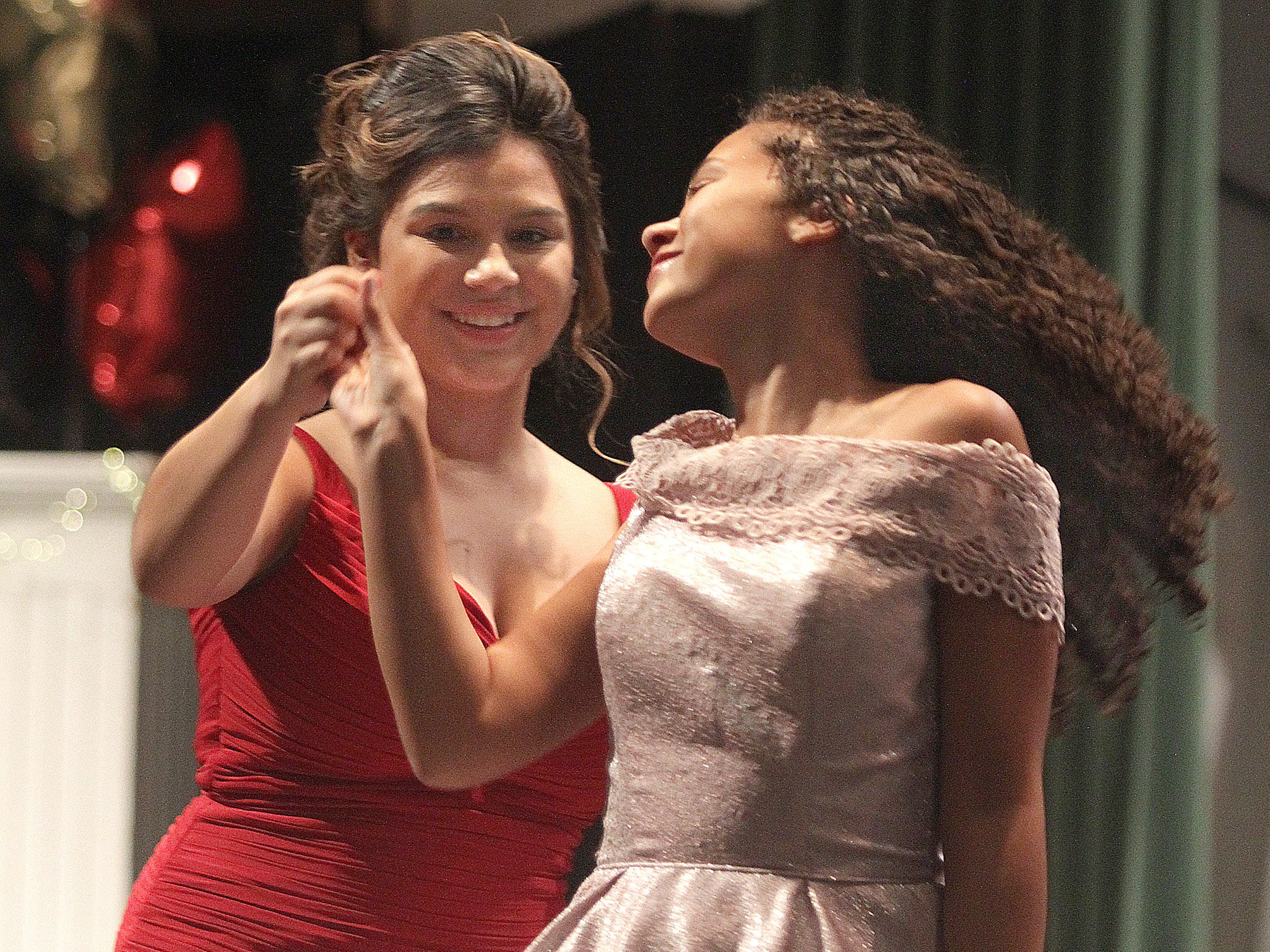 L-R Emily Ruiz and Rachel Broadrick on stage at Gallatin High's Annual Prom Show on Saturday, February 2, 2019.