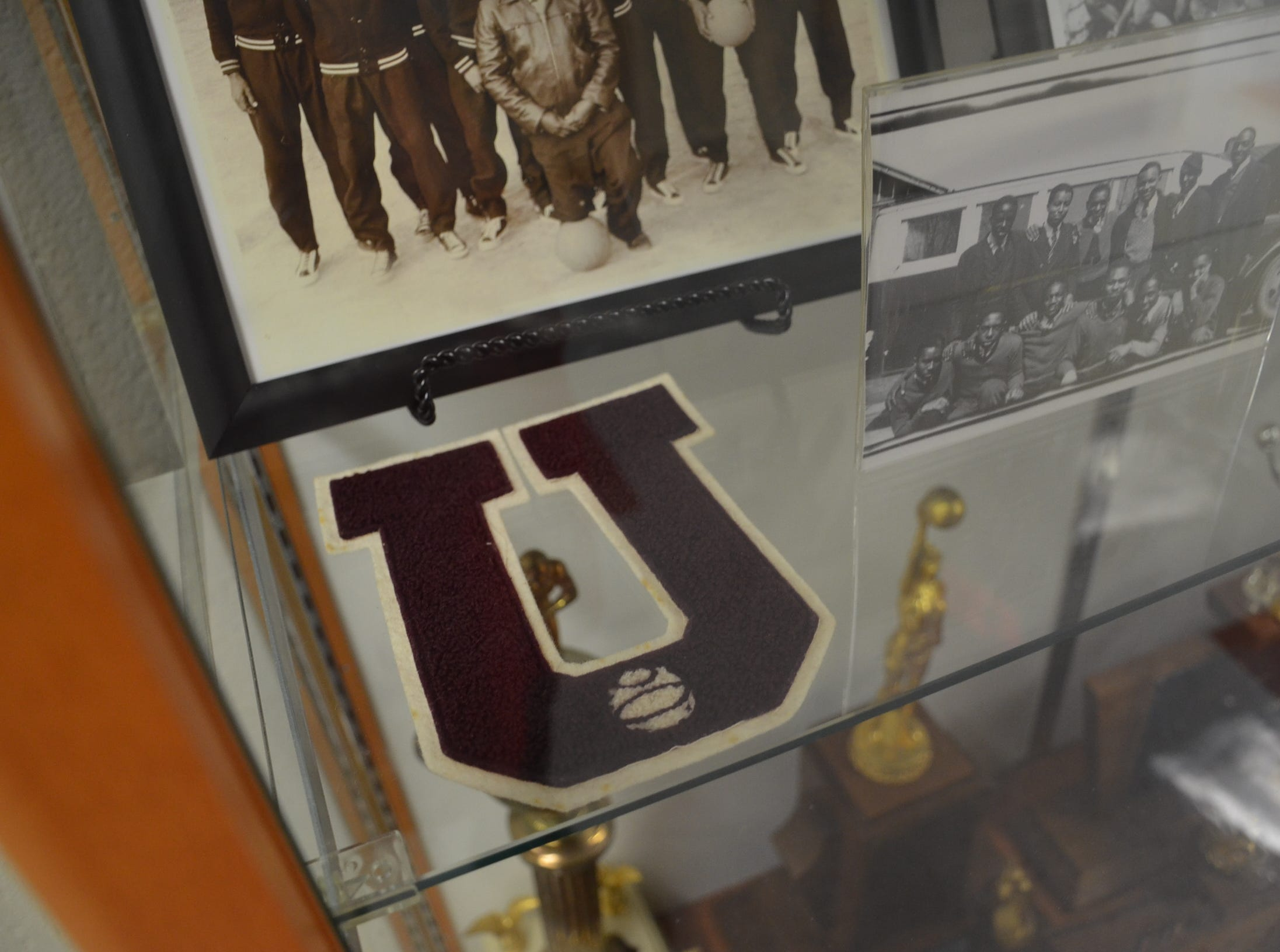 """Union High School's historic """"U"""" patch is on display at the building on Small Street."""