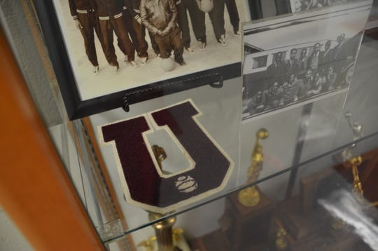 "Union High School's historic ""U"" patch is on display at the building on Small Street."
