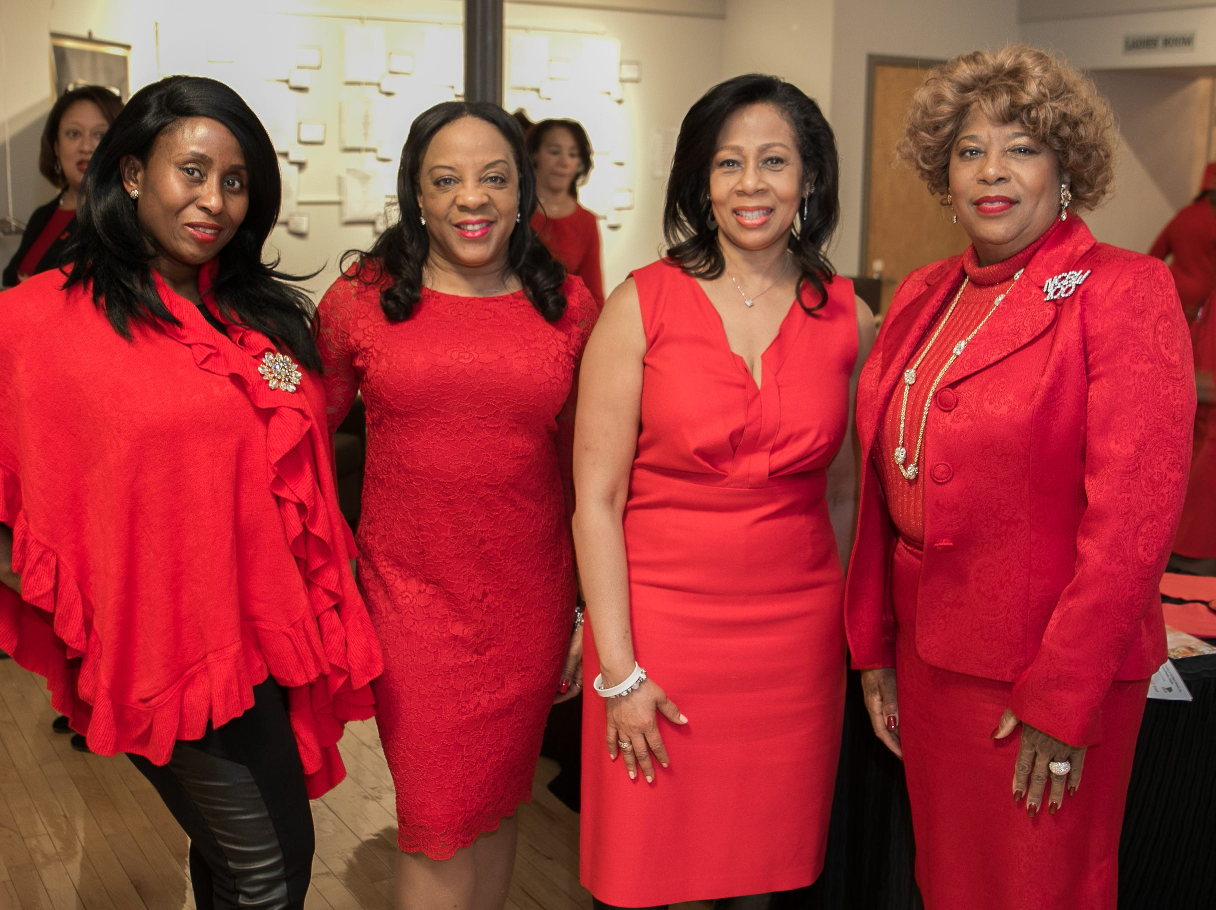 Michelle Okolo, Gail Baskerville-Norris,  Janice Johnson, Sonia Tracey. The National Coalition of Black Women of Bergen and Passaic Counties held its annual Heart Healthy Go Red Event at The Hackensack Performing Arts Theater. 02/01/2019