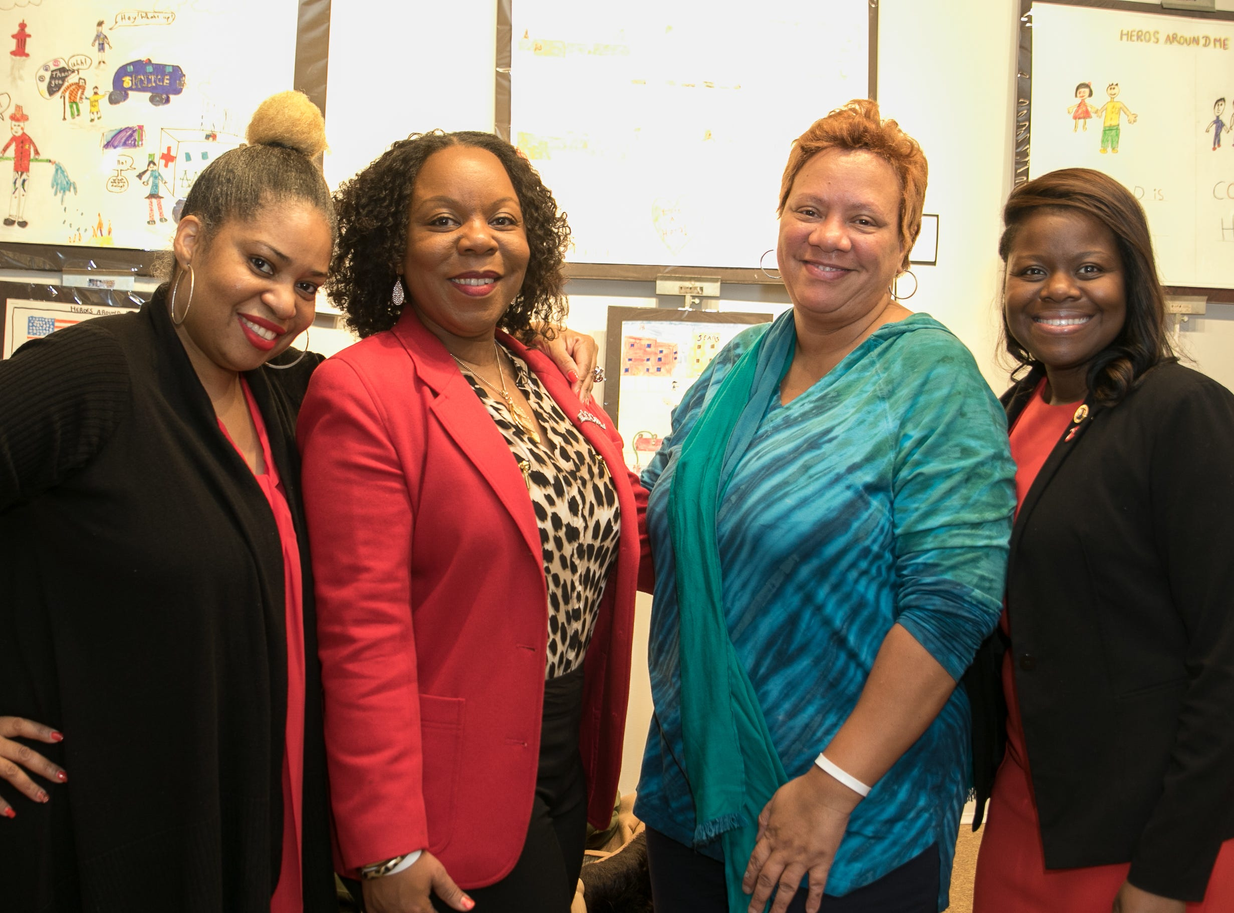 Jennifer Collins, Jacqueline Ridley, Kym Moye, Jersey City Counsilwoman Denise Ridley. The National Coalition of Black Women of Bergen and Passaic Counties held its annual Heart Healthy Go Red Event at The Hackensack Performing Arts Theater. 02/01/2019
