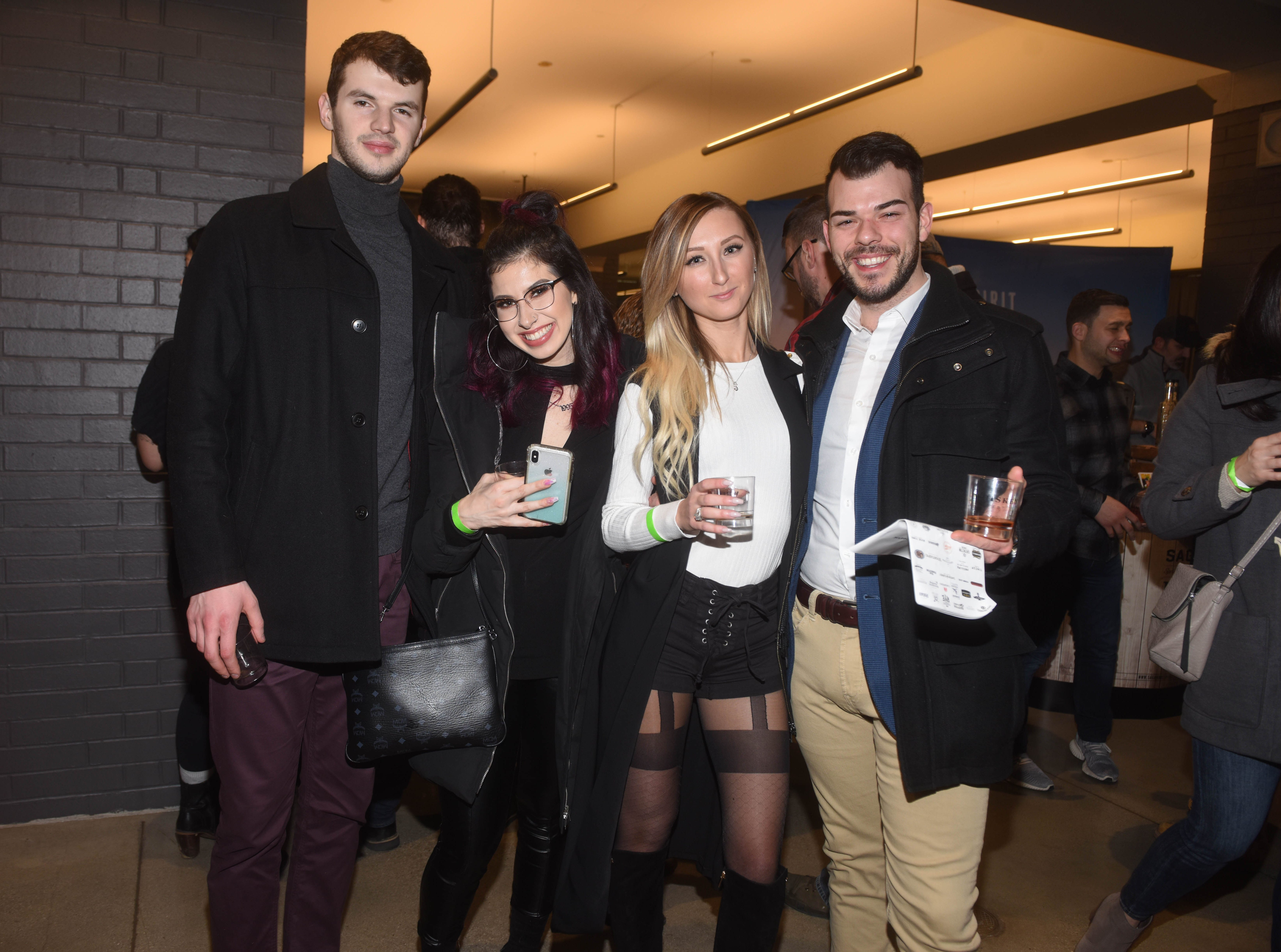 Zak, Sophia, Karolina and Dominic. Jersey City Whiskey Fest was held at Harborside Atrium. The event featured over 100 styles of whiskey and spirits. 02/01/2019