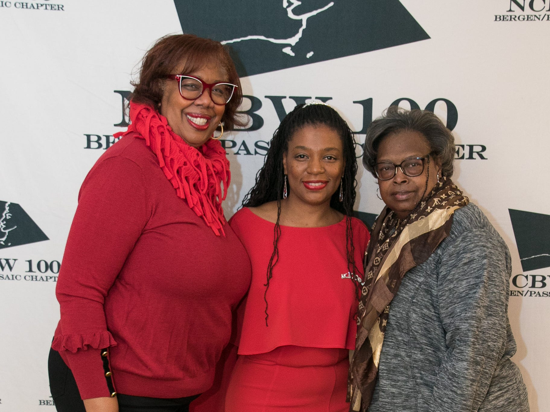Debra Hall, Dr. Ketsia Alerte-Sadler, Wanda Cleaves. The National Coalition of Black Women of Bergen and Passaic Counties held its annual Heart Healthy Go Red Event at The Hackensack Performing Arts Theater. 02/01/2019