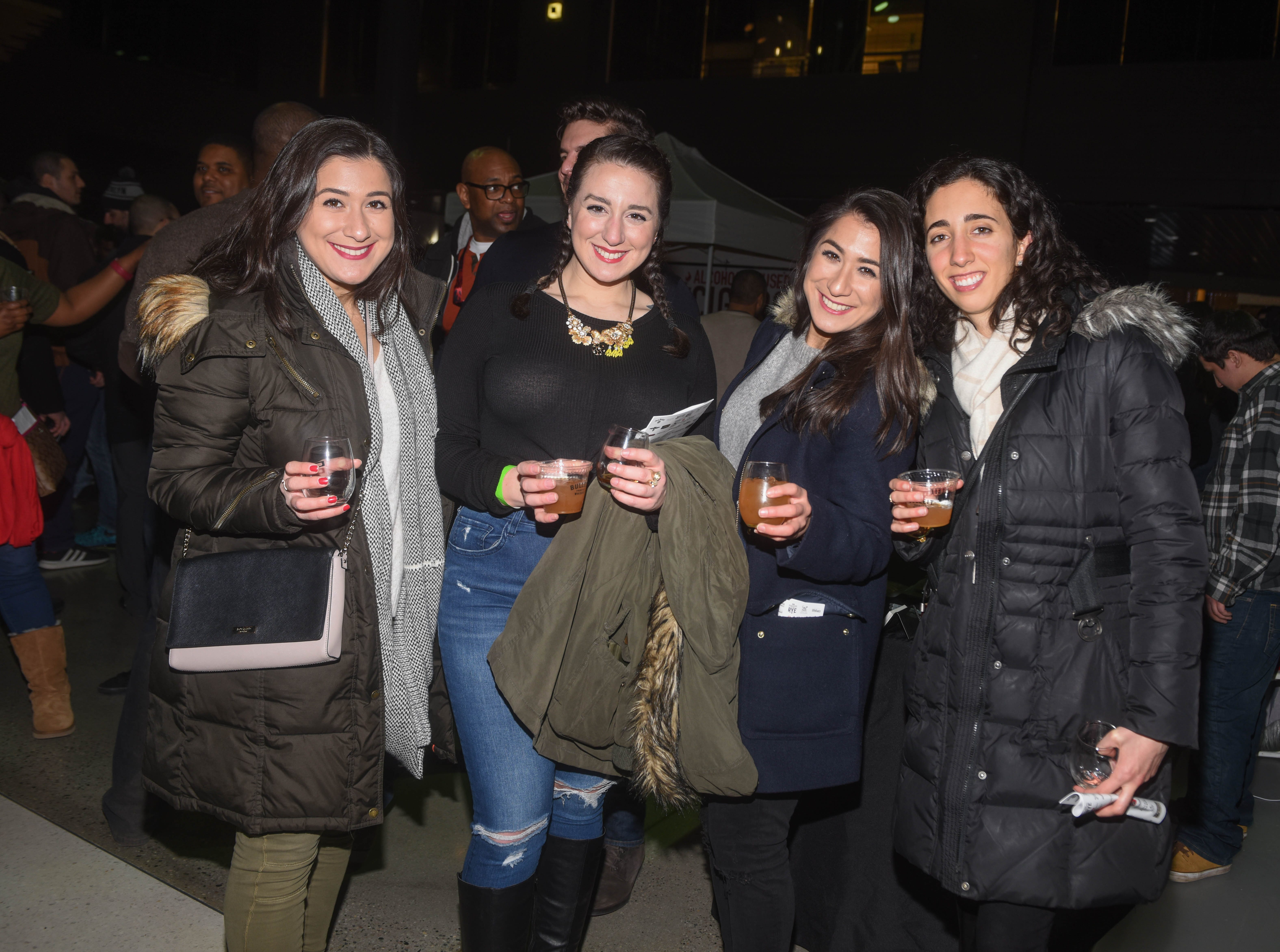 Vera Rica, Gabrielle Rica, Eva Rica and Jessica Chamoun. Jersey City Whiskey Fest was held at Harborside Atrium. The event featured over 100 styles of whiskey and spirits. 02/01/2019