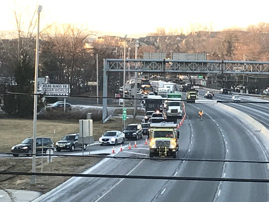 Traffic being detoured off of Route 17 at the Lake Street ramp in Ramsey due to wires down, Monday, February 4, 2019.