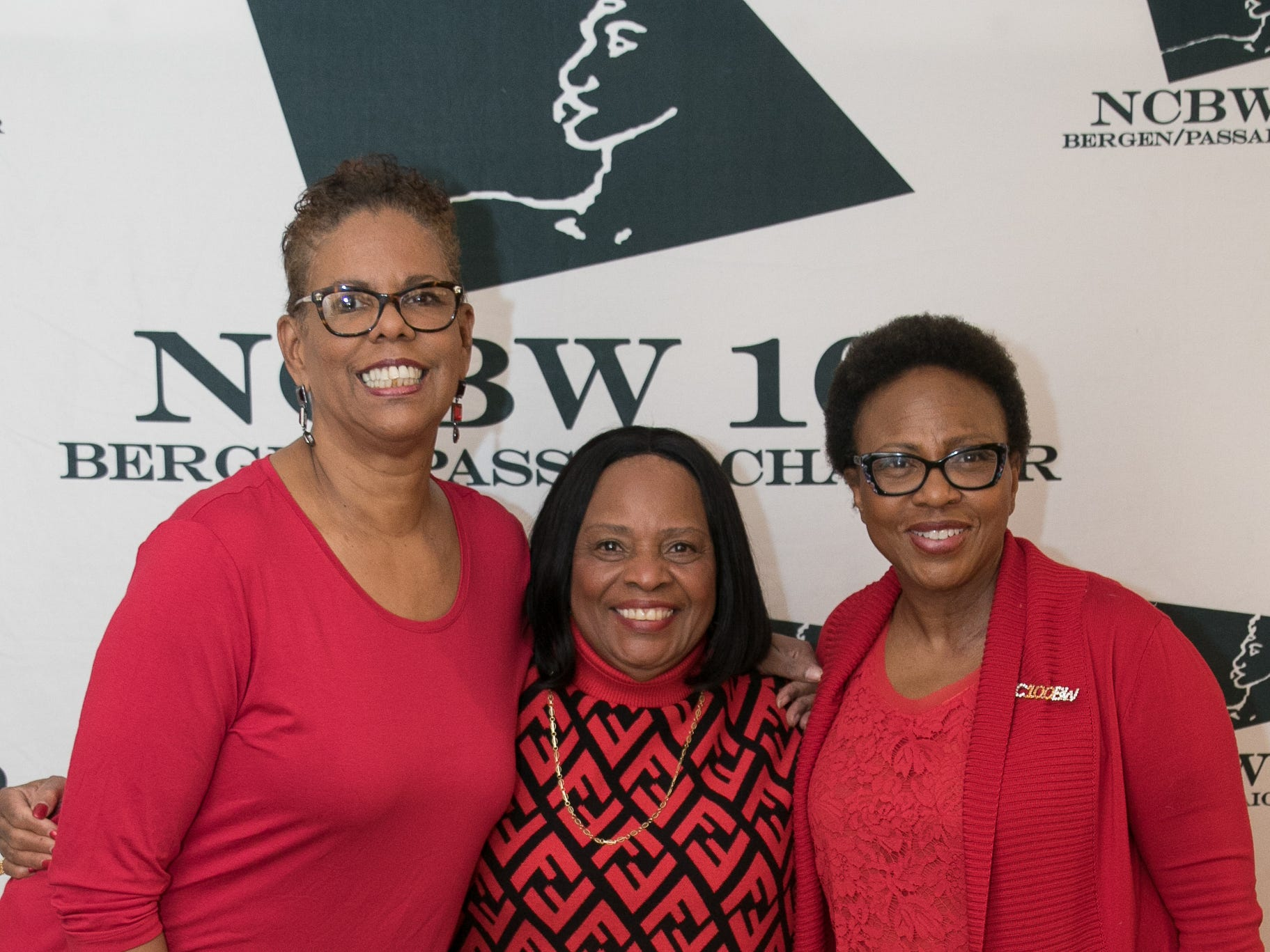 Gwen Worthy-Brown, Hazel Skeete, Jaclyn Durant. The National Coalition of Black Women of Bergen and Passaic Counties held its annual Heart Healthy Go Red Event at The Hackensack Performing Arts Theater. 02/01/2019