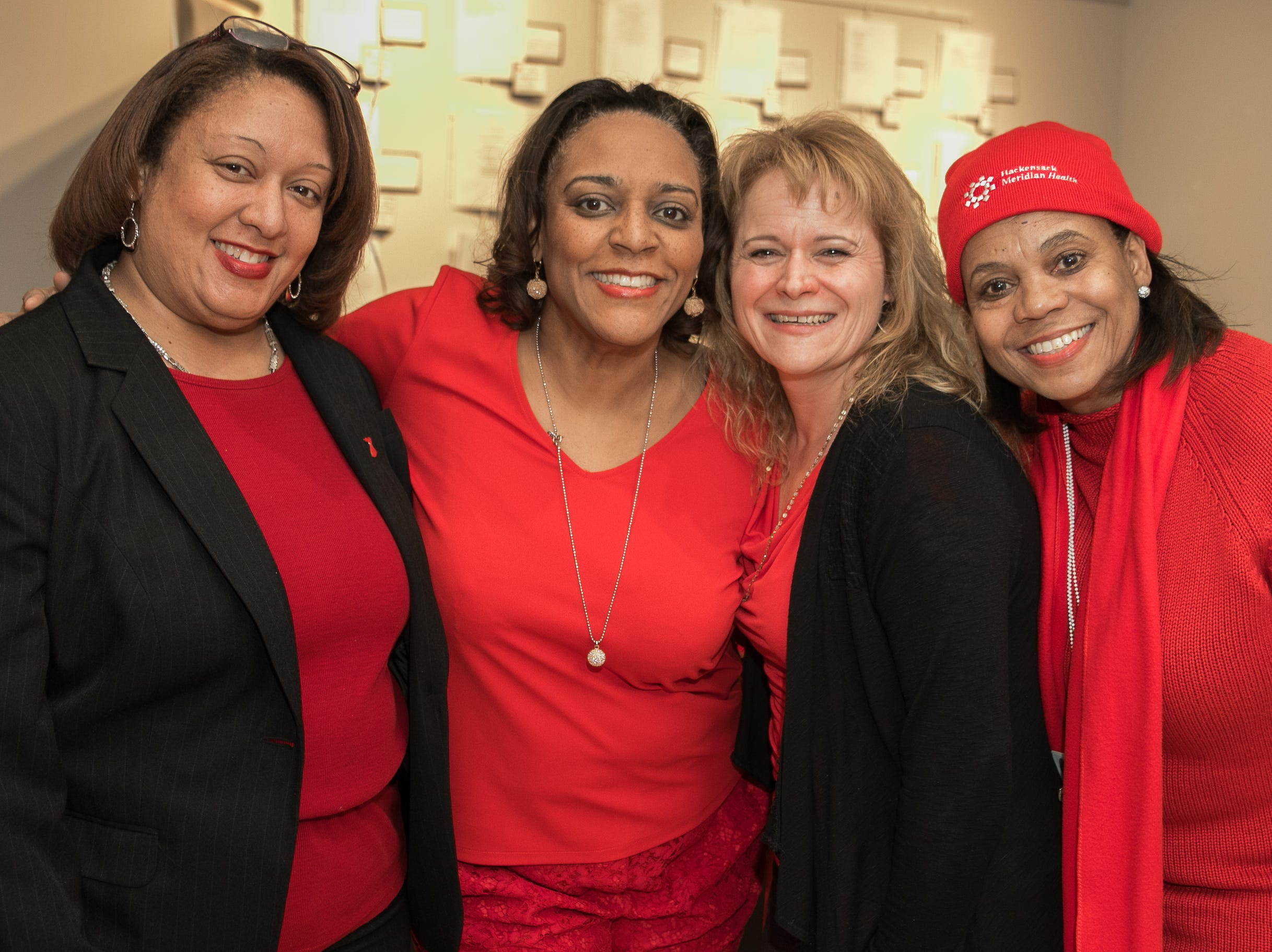Rev. Tami Henry, Dr. Traci Vurgess, Carlene Gordon, Dr. Darlene Cox. The National Coalition of Black Women of Bergen and Passaic Counties held its annual Heart Healthy Go Red Event at The Hackensack Performing Arts Theater. 02/01/2019
