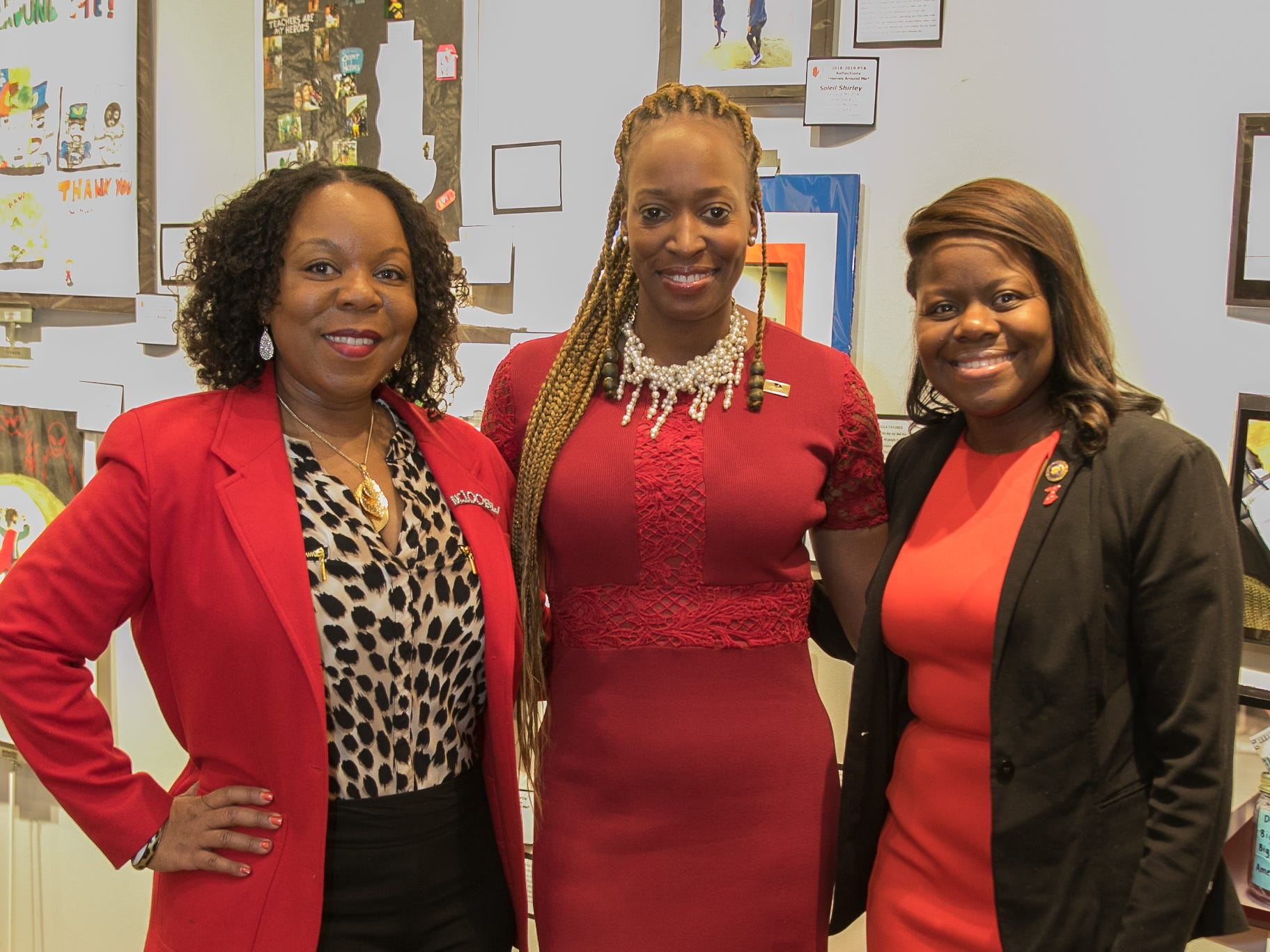 Jacqueline Ridley, Elizabeth Carter, and Jersey City Counsilwoman Denise Ridley. The National Coalition of Black Women of Bergen and Passaic Counties held its annual Heart Healthy Go Red Event at The Hackensack Performing Arts Theater. 02/01/2019