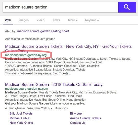 Example of a white-label ticket reseller using a venue's name in its URL and appearing as the top result of a search for Madison Square Garden on Yahoo.