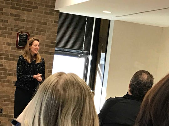 Conresswoman Mikie Sherrill, (D-11) speaks before a crowd Monday morning in Woodland Park.