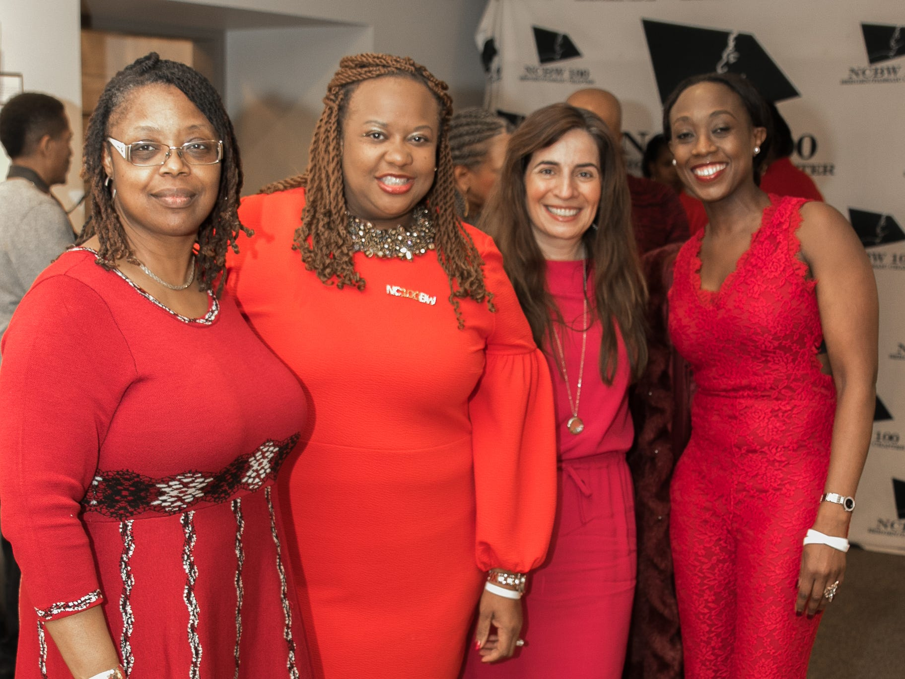 Ronzetta Robinson, NCBW President Paula Madison-Ryner, Helen Archontou, Chamaine Bigby. The National Coalition of Black Women of Bergen and Passaic Counties held its annual Heart Healthy Go Red Event at The Hackensack Performing Arts Theater. 02/01/2019
