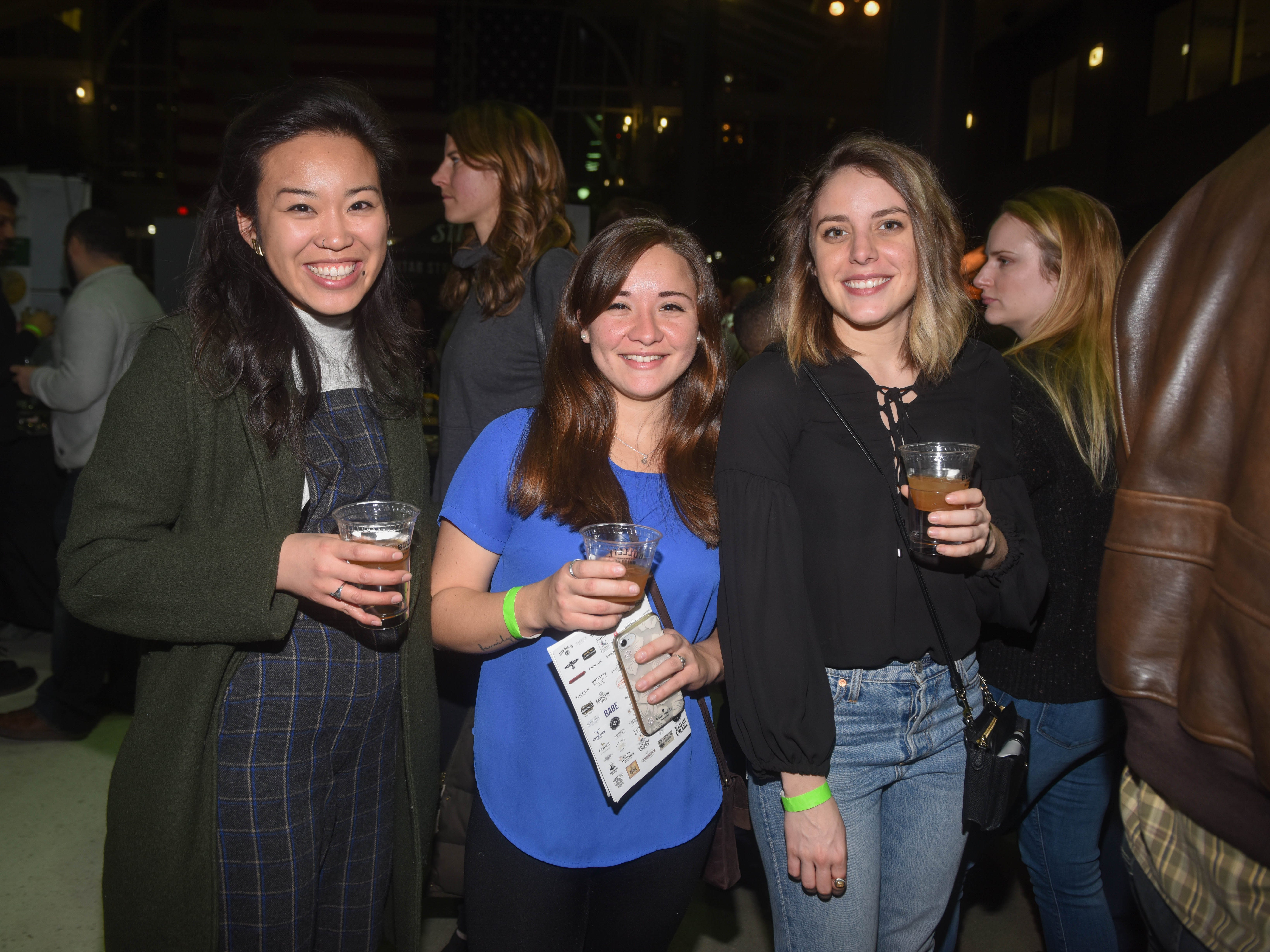 Ally, Tiffany and Tori. Jersey City Whiskey Fest was held at Harborside Atrium. The event featured over 100 styles of whiskey and spirits. 02/01/2019