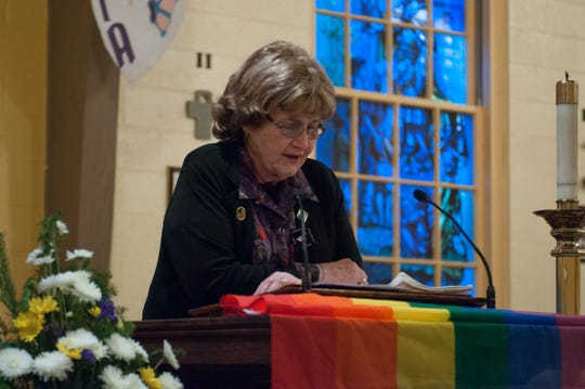 "Barbara ""Babs"" Siperstein, a transgender advocate and former Democratic National Committee member, died Feb. 3, just two days after a New Jersey law named for her went into effect. The law makes it easier for people to change the gender listed on  their birth certificate. Here she speaks at a vigil in Teaneck in 2014."