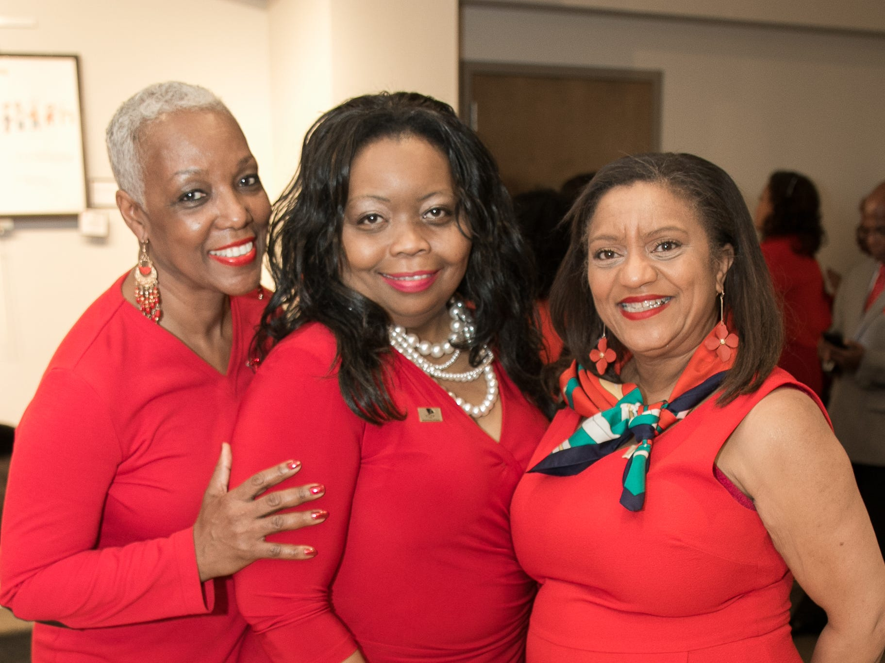 Debra Witcher-Jackson, Kathay Hampton, Kesha Dungey. The National Coalition of Black Women of Bergen and Passaic Counties held its annual Heart Healthy Go Red Event at The Hackensack Performing Arts Theater. 02/01/2019