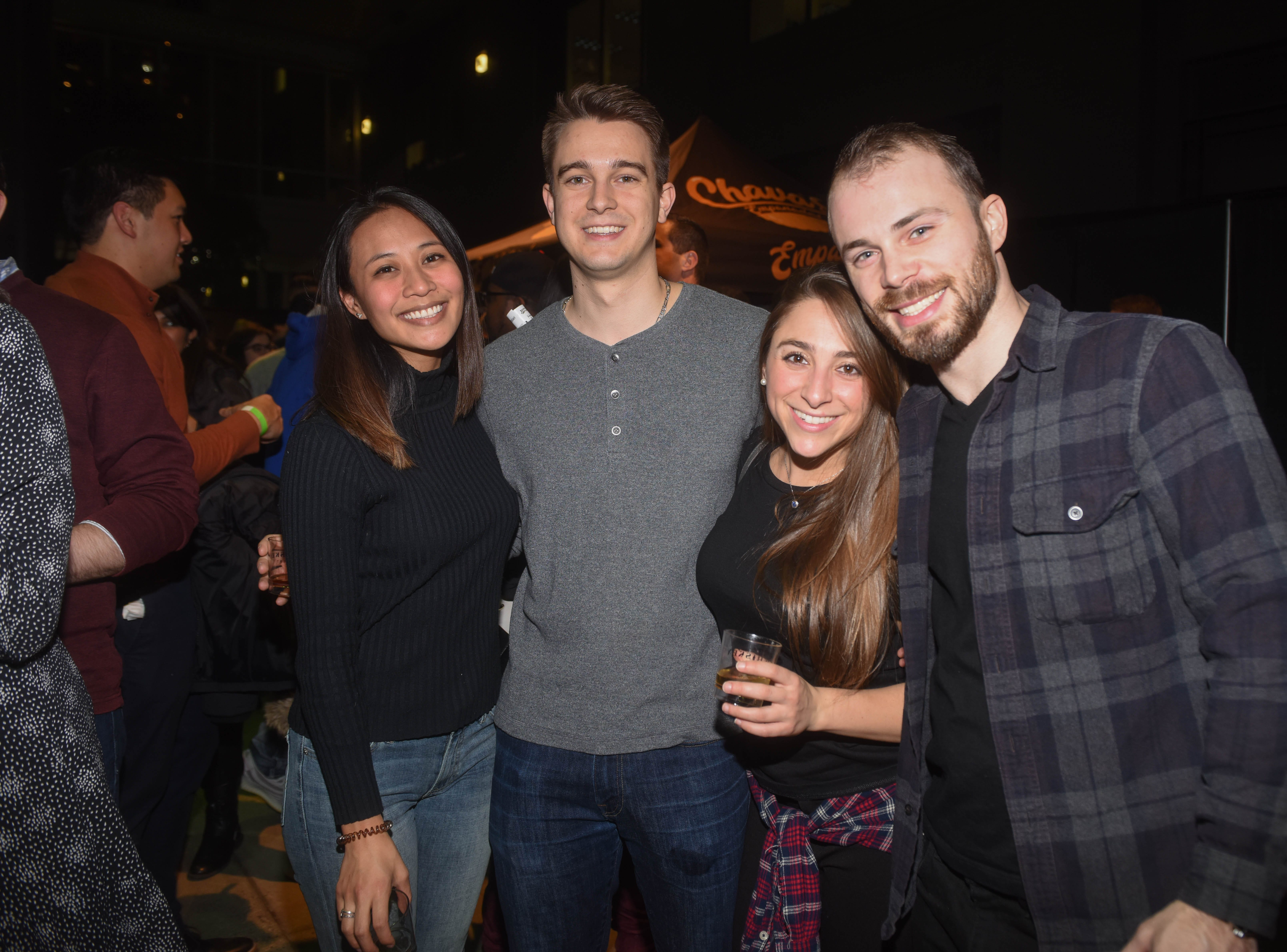 Aileen, Domenic, Alex and James. Jersey City Whiskey Fest was held at Harborside Atrium. The event featured over 100 styles of whiskey and spirits. 02/01/2019