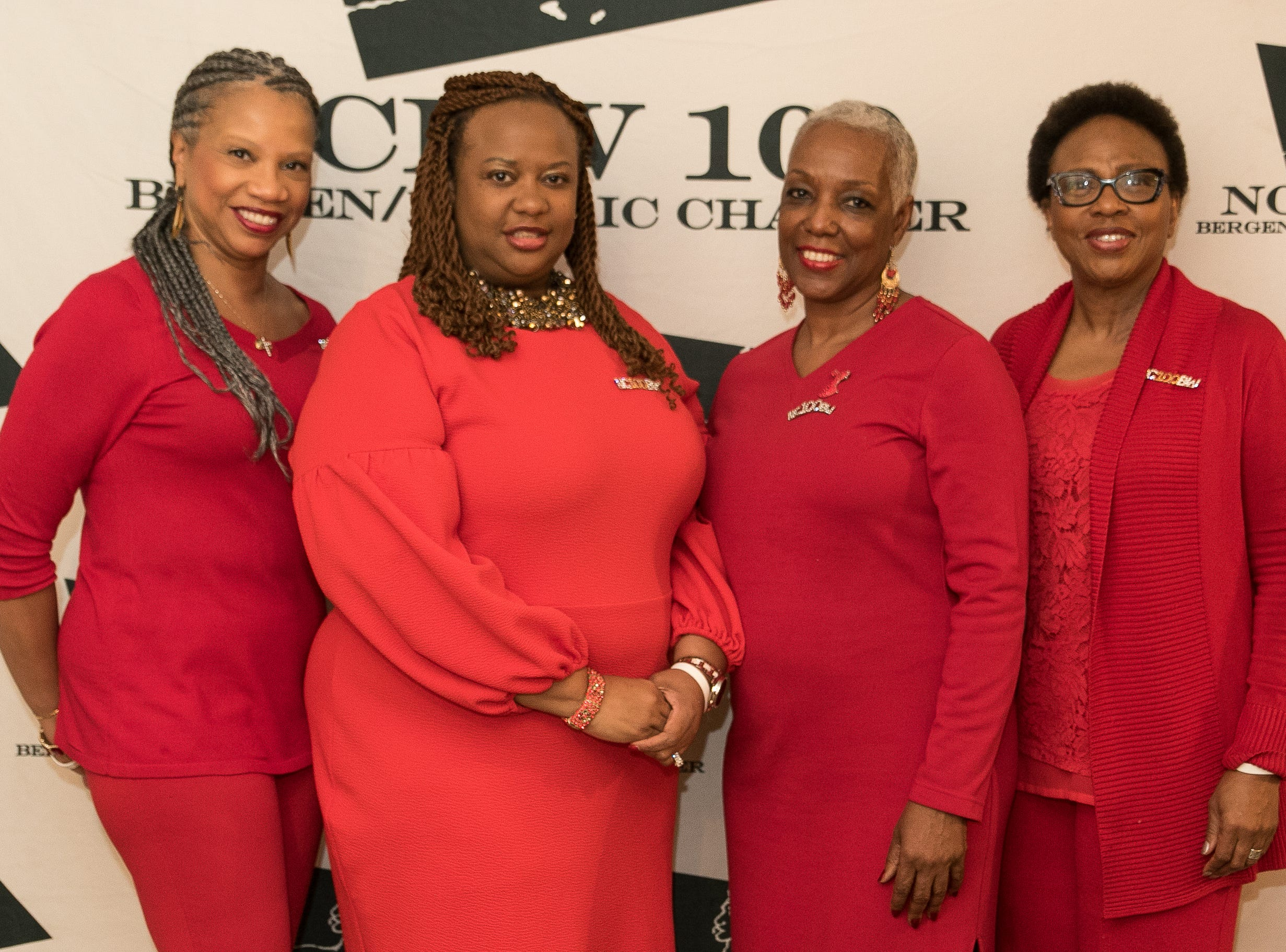Yvonne Witter, NCBW President Paula Madison-Ryner, Debra Witcher-Jackson, Jaciyn Durant. The National Coalition of Black Women of Bergen and Passaic Counties held its annual Heart Healthy Go Red Event at The Hackensack Performing Arts Theater. 02/01/2019