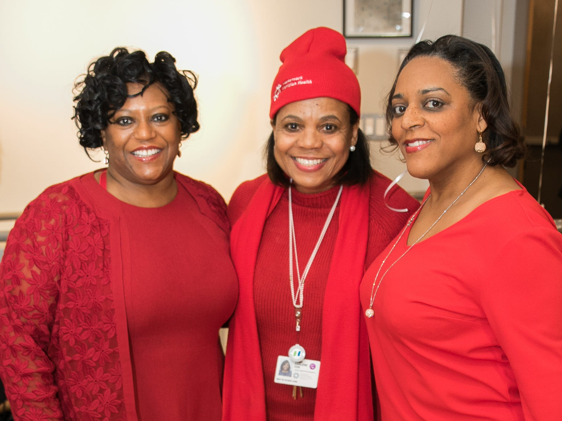 Dr. Menen Mathias, Dr. Darlene Cox, Dr. Traci Vurgess. The National Coalition of Black Women of Bergen and Passaic Counties held its annual Heart Healthy Go Red Event at The Hackensack Performing Arts Theater. 02/01/2019