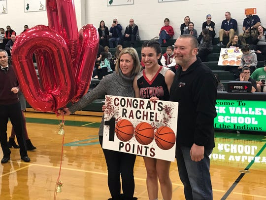 Westwood senior girls basketball player Rachel Bussanich is honored for scoring her 1,000th career point in a Bergen County quarterfinal game against Paramus Catholic on Saturday, Feb. 2, 2019.