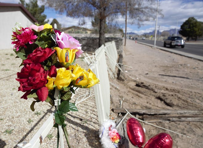 A two-vehicle crash on Saturday, Feb. 2, 2019 claimed the life of 26-year-old Naomi Brandi Flores. Monday, flowers and balloons left at the crash site — Kilmer Street and Spruce Avenue — stood as a memorial.