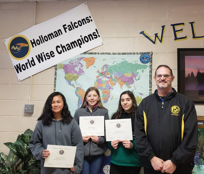 Holloman Middle School students honored as Alamogordo Kiwanis Club Most Improved Students for January are from left to right Katelynn Balani, Krista O'Quain, Kaylan Garcia, and Principal Steven Starkovitch.