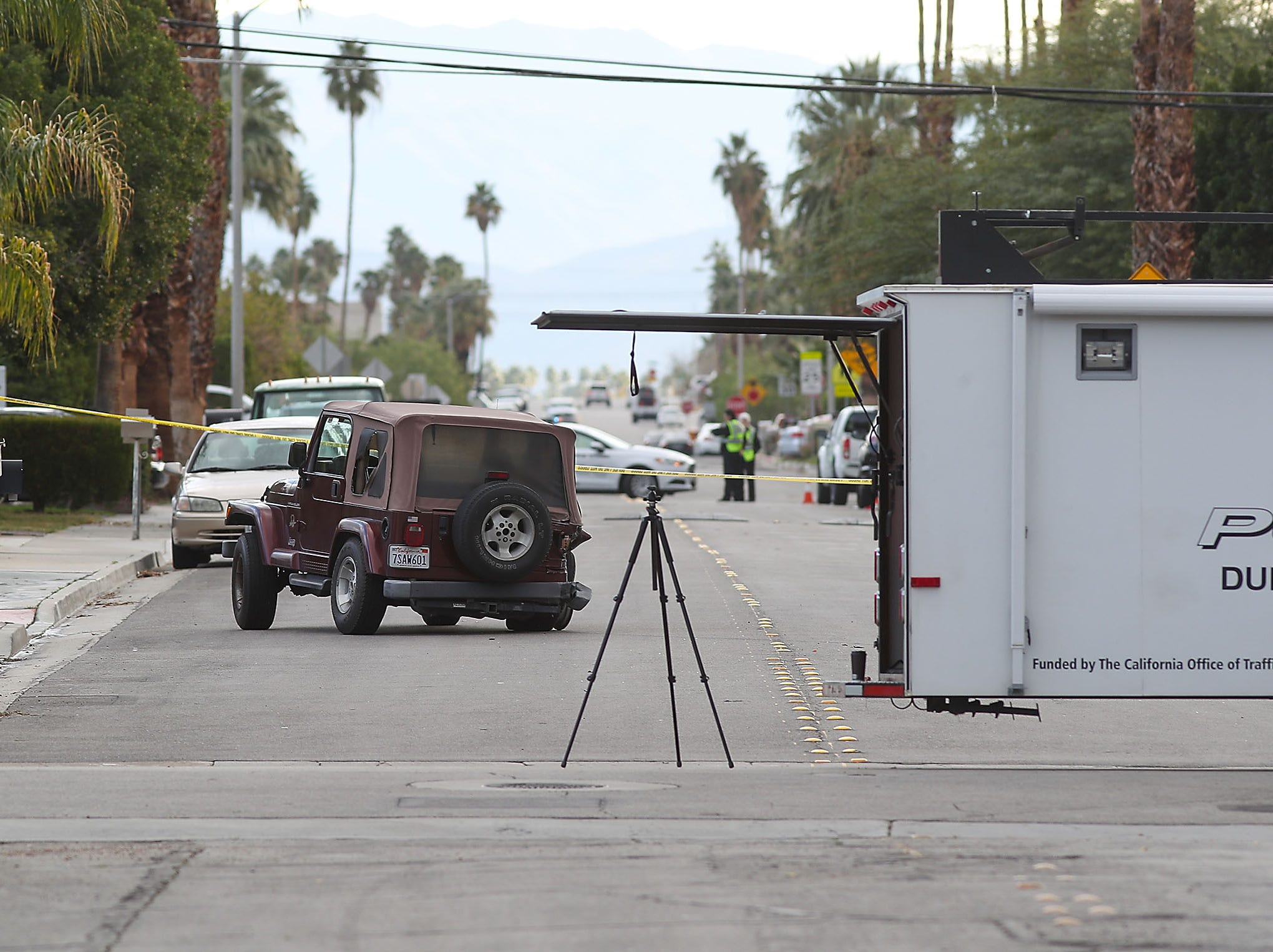 Sunny Dunes Road in Palm Springs where a traffic collision was being investigated, February 4, 2019. The accident was in between El Placer Road and Avenida Evelita on Sunny Dunes Road.