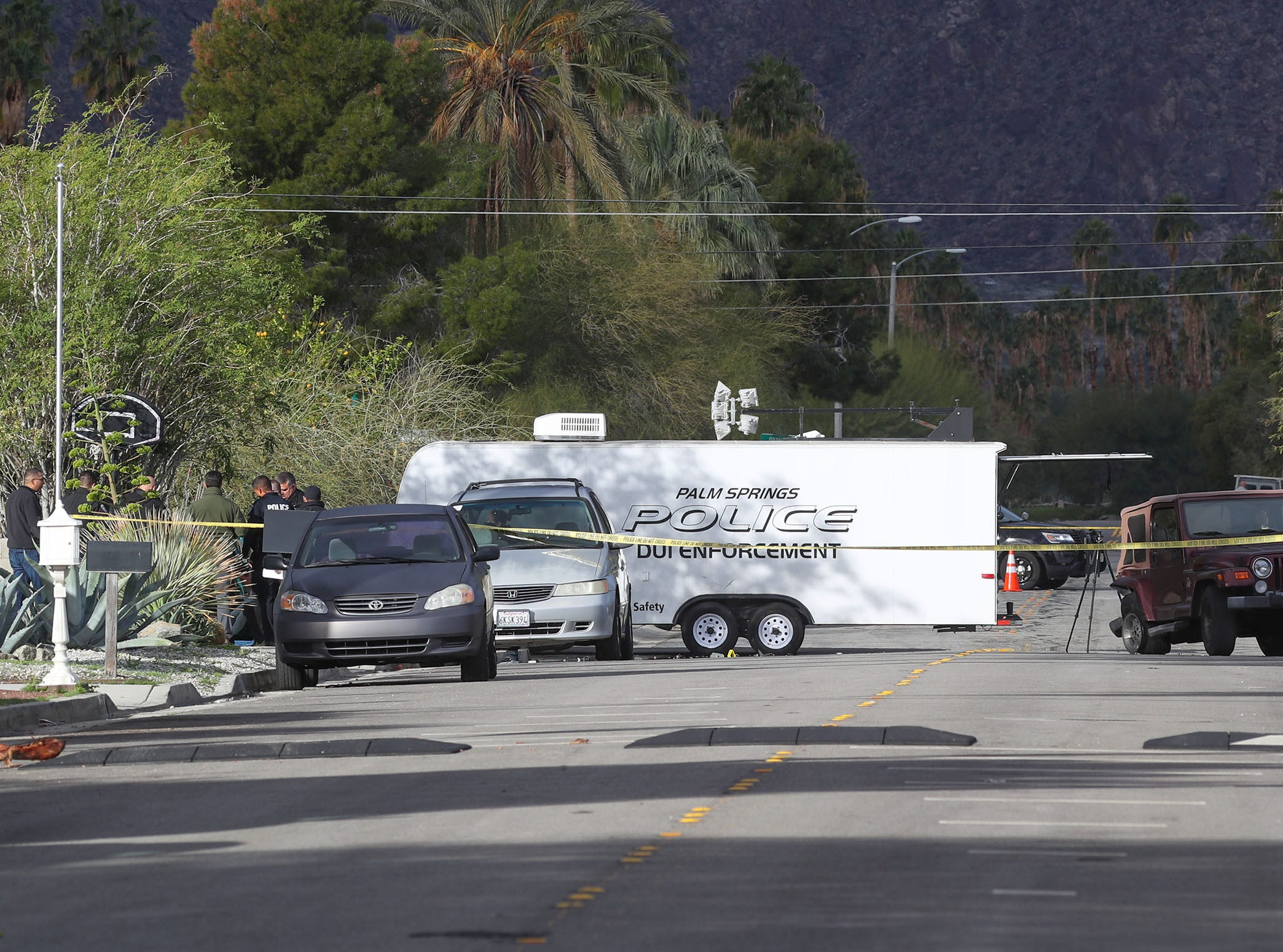Sunny Dunes Road in Palm Springs, where a traffic collision was being investigated on February 4, 2019. The accident was in between El Placer Road and Avenida Evelita on Sunny Dunes Road.