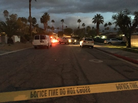 Palm Springs police are investigating a homicide and collision in close proximity in Palm Springs on Feb. 4, 2019.